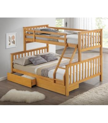 Maxi Beech Finished Hardwood Triple Sleeper Bunk Bed with Storage Drawers