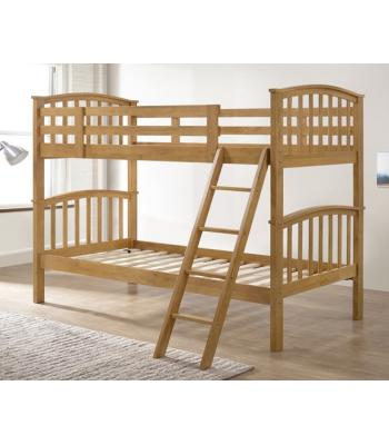 Barbican Oak Hardwood Finished Single Bunk Bed