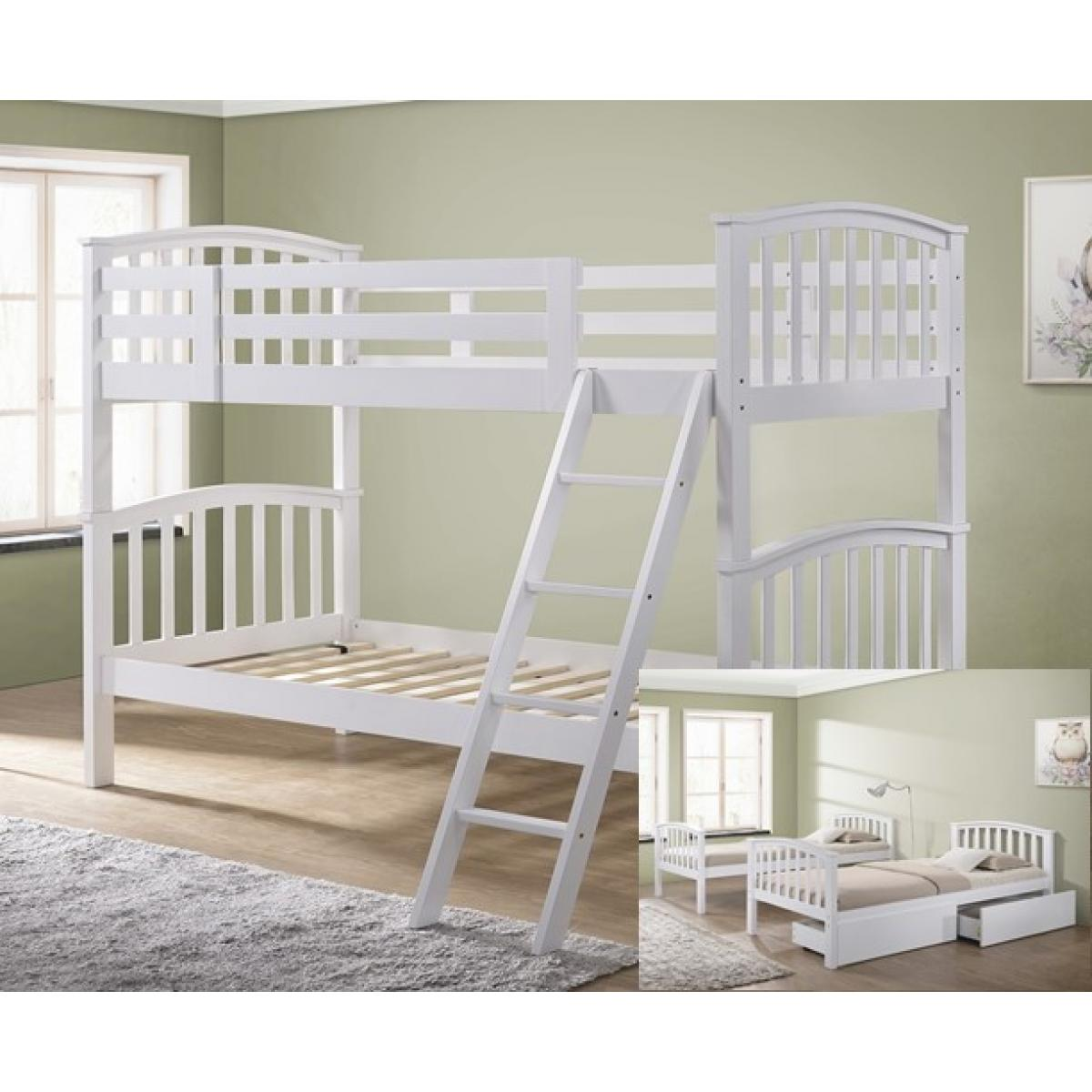 Picture of: Barbican White Hardwood Finished Single Bunk Bed With Storage