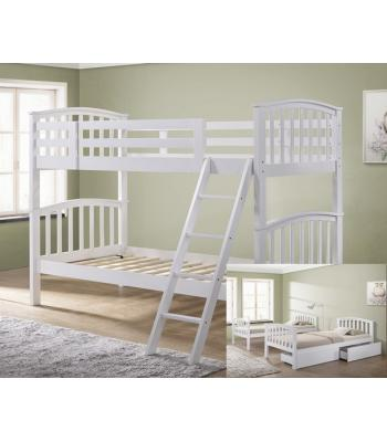 Barbican White Hardwood Finished Single Bunk Bed with Storage Drawers