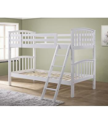 Barbican White Hardwood Finished Single Bunk Bed