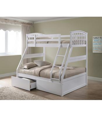 White Finished Hardwood Triple Sleeper Bunk with Storage Drawers