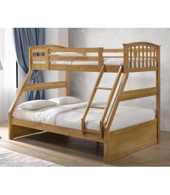 Oak Finished Hardwood Triple Sleeper Bunk