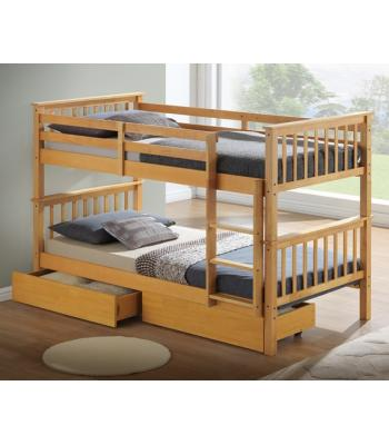 Calder Beech Finished Hardwood Bunk Bed with Storage Drawers