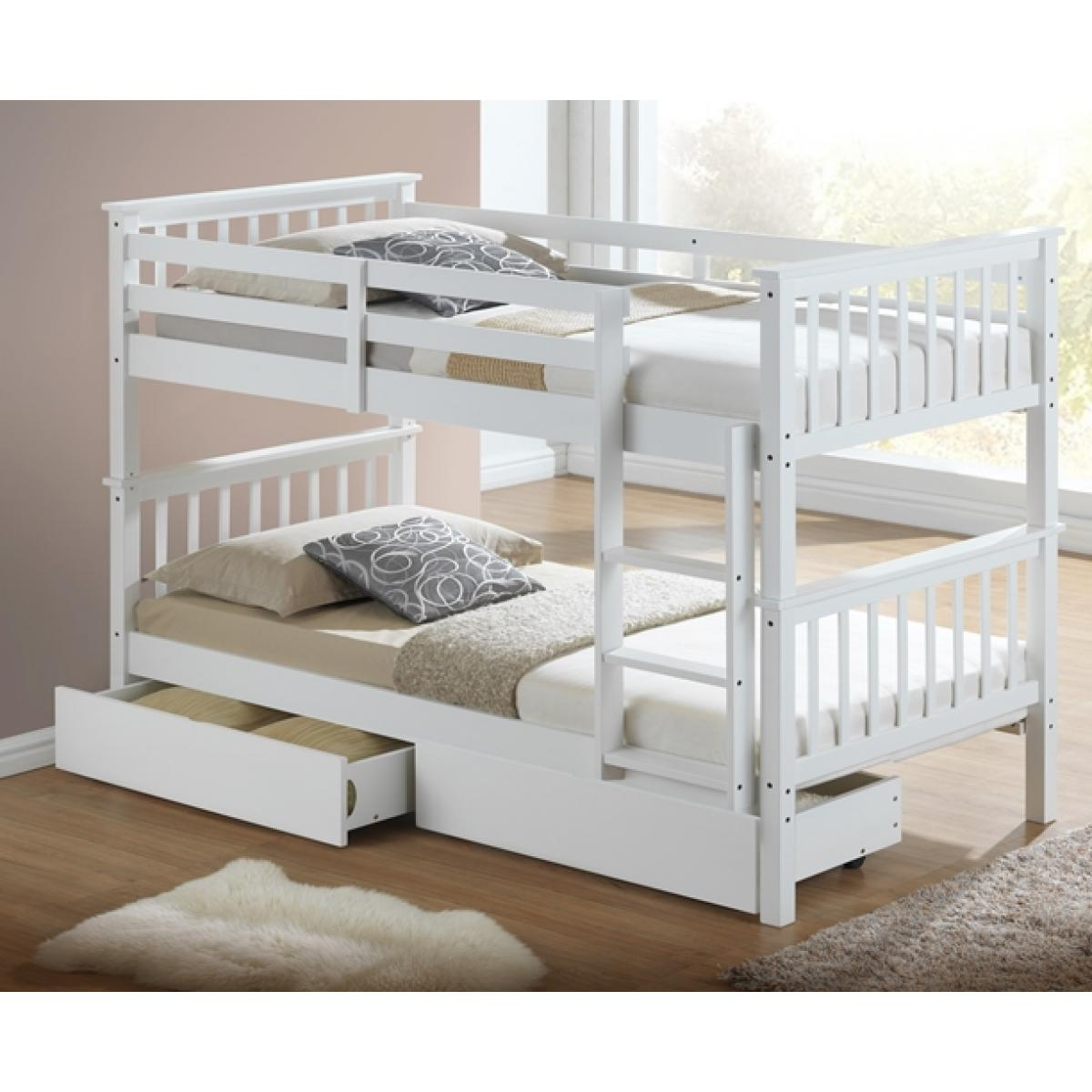 Picture of: Calder White Finished Hardwood Bunk Bed With Storage Drawers