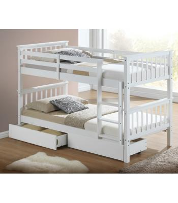Calder White Finished Hardwood Bunk Bed with Storage Drawers