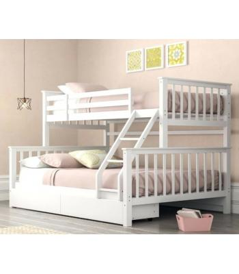 Maxi White Finished Hardwood Triple Sleeper Bunk Bed with Storage Drawers