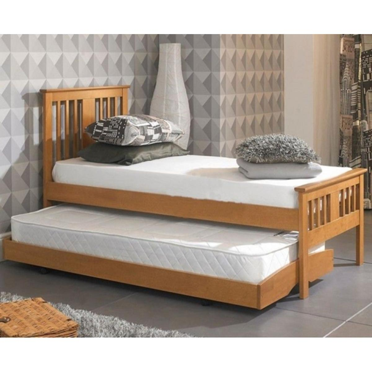 Single Oak Finished Solid Hardwood Guest Trundle Bed