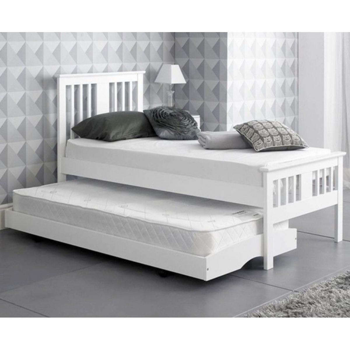 Single White Finished Solid Hardwood Guest Trundle Bed