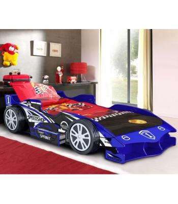 Kids Blue Speedy Speed Racer Single Car Bed with Storage