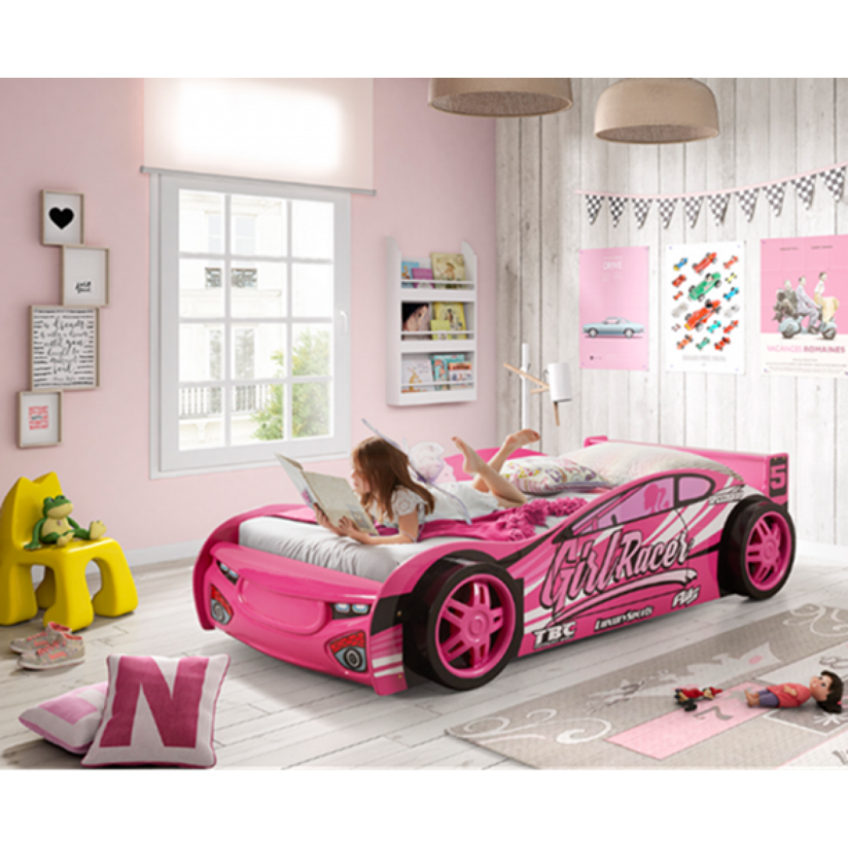 Picture of: Girls Single Pink Novelty Sports Car Racer Bed Frame