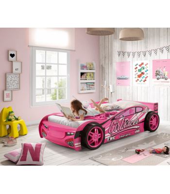 Girls Single Pink Novelty Sports Car Racer Bed Frame
