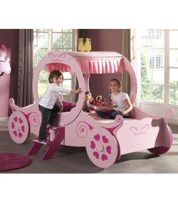 Girls Princess Pink Carriage Bed