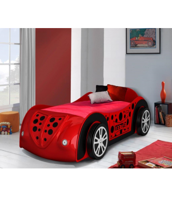 Kids Red Beetle Novelty Car Bed with LED Lights and 3D Alloy Wheels