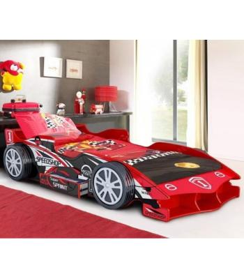 Kids Red Speedy Speed Racer Single Car Bed with Storage