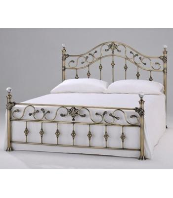 Elizabeth Antique Brass Effect Bed with Crystal Finials