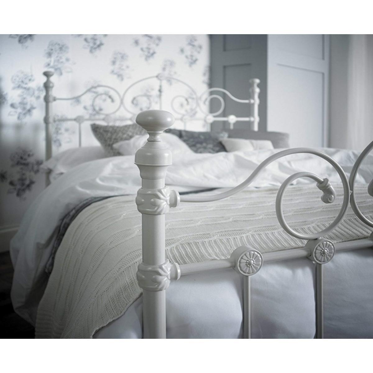 Louisiana White Ornate Metal Bed Frame