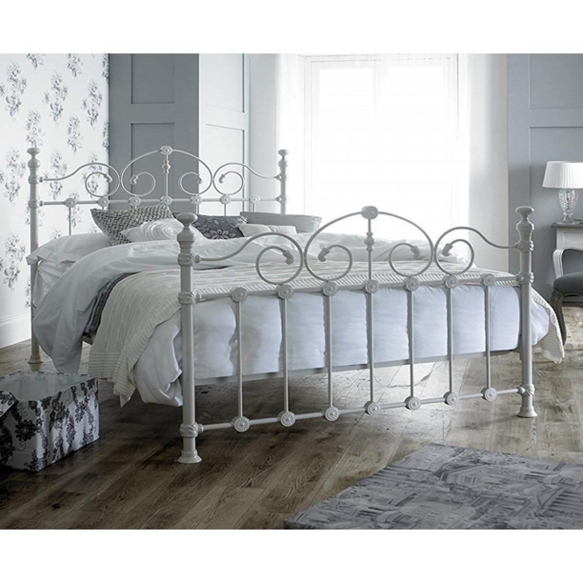 Picture of: Louisiana White Ornate Metal Bed Frame