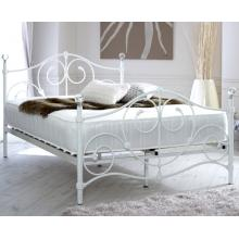 Toledo Double Ornate Style White Metal Bed Frame with Crystal Finials | Metal Beds (by Interiors2suitu.co.uk)