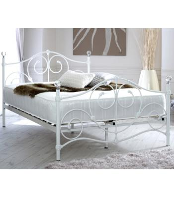 Madrid Double Ornate Style White Metal Bed Frame with Crystal Finials