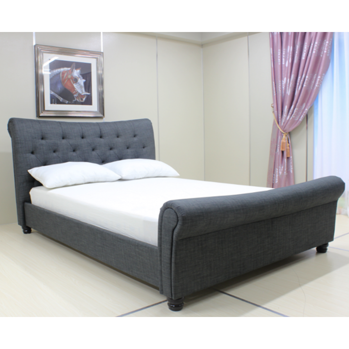 Picture of: Jacob Grey Fabric Upholstered Modern Sleigh Bed With Tufted
