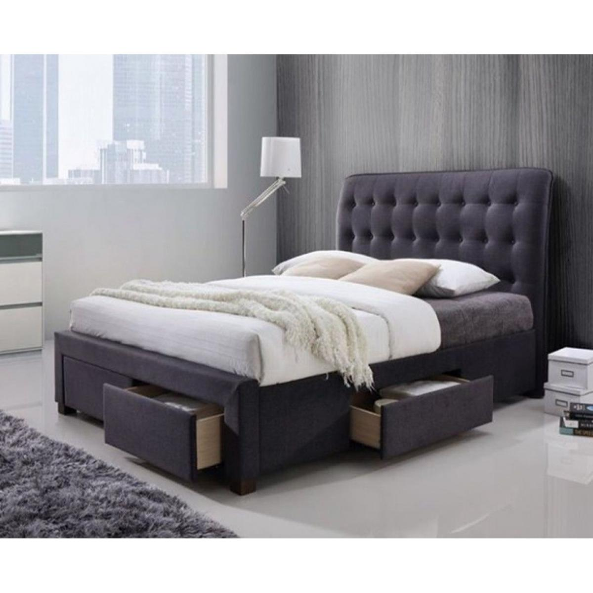 Zara Dark Grey Fabric 4 Drawer Modern Storage Bed Frame