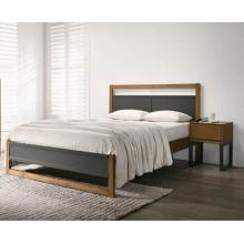 Braylee Dark Grey Bed Finished with Walnut Panels  | Wood Beds (by Interiors2suitu.co.uk)