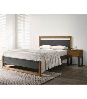 Braylee Dark Grey Bed Finished with Walnut Panels