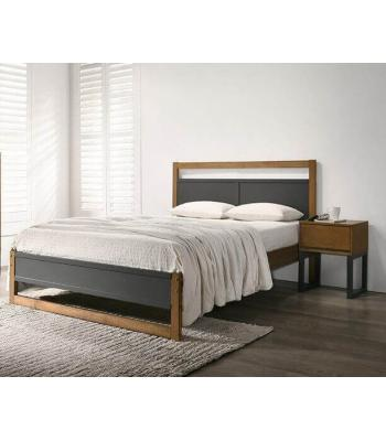 Amelia Oak Finished Bed with Dark Grey Panels by Harmony