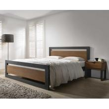 Vicente Dark Grey Wooden Bed with Walnut Veneered Panels | Wood Beds (by Interiors2suitu.co.uk)
