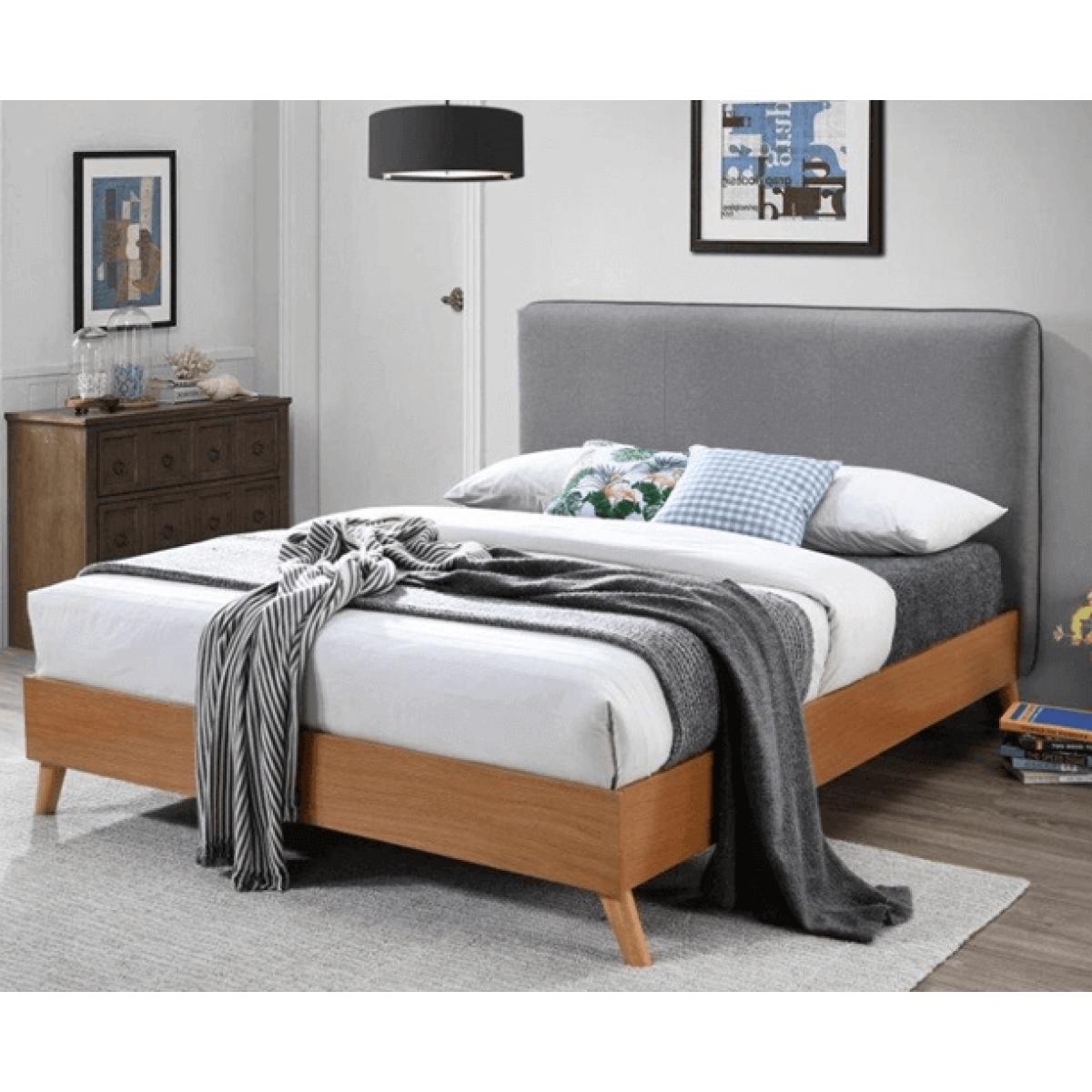 Upholstered Bed Frames Saturn Oak Finished Bed With Light